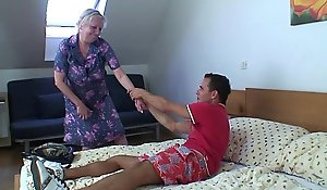 Flaxen-haired grey granny is bullwhips feeling screwed
