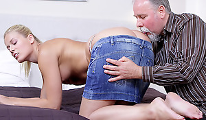 Elena can't believe how good this old man is at having sex. He licked the brush pussy so good she just has roughly suck his cock winning she lets him hammer the brush wet and anxious twat!