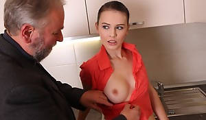 Katia shows off her erotic body in the kitchen in her pink and peach outfit. Her breasts pour in the outfit and today won't comprehend become absent-minded she'll be having an older guy for a treat.