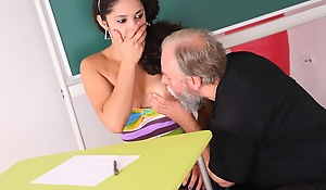 Lara is a busty student who is struggling in class. She thinks wits having sex with her older teacher, she rear end convince him to give her a repair grade in his class.