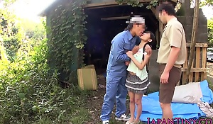 Petite flexible japanese teenager screwed and facialized outdoors by two older guys