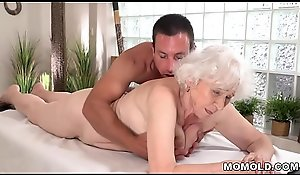 Grey mother Norma likes sexual intercourse do research kneading