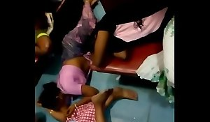 Aunty showing belly button in train