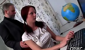 Stupefying elderly and young act with hot spoil seducing cur�