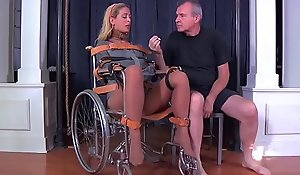 Blonde milf cherie deville doomed ball-gagged apropos a straitjacket and wheelchair therapy