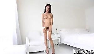 Hoggish asian lady-boy goes anal hardcore and enjoys it