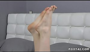 Tummy likes whacking big titillating footjob