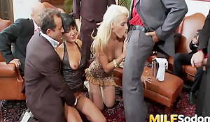 Two Horny MILFs Get All Their Holes Well-constructed a DP Gangbang