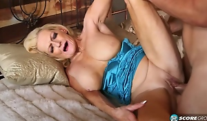 Mature blonde slut, Layla Rose is getting fucked hard in the cottage, while playing with her chest