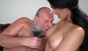 Pretty brunette with big naturals fucks an aged challenge