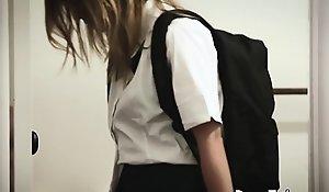 Sexy schoolgirl fucked by stepbro