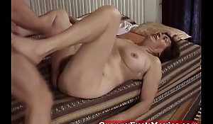 Hairy granny slit screwed by pro