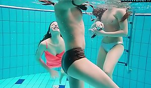 Hot girls undress in be passed on pool