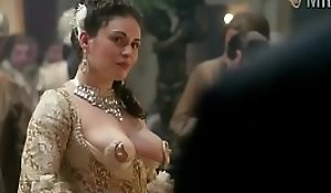 Kimberly Smart nipple dress scene from Outlander the series