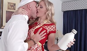 Matured golden-haired profane floozy spliced titfucks a catch milkman