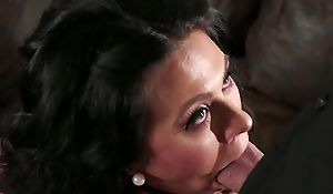 Bearded guy fucks dark-haired housewife in the living room