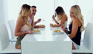 Prop yon lesbian housemates make void relating to near a hot four-way
