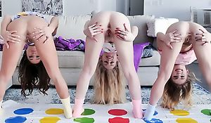 Three cute minority play Twister with the addition of share hard prick