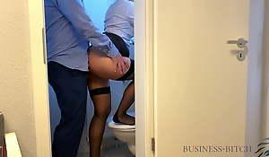 boss meets secretary in the office restroom - business-bitch