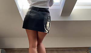 secretary in leather skirt kneels for boss - business-bitch
