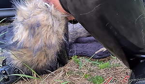 Dog slut orgasm, Celeste receives dog credentials outdoors