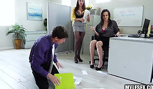 Two Office MILFs Dominate Assistants Cock alongside Threesome