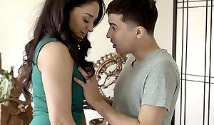Latin chick big tits stepmom engulfing off stepson