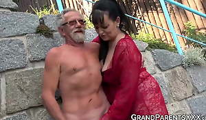 Busty grandma blows big old cock and gets jism sprayed in four-way