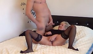 German Granny Caught Masturbating and Seduced to Fuck wide of Youthful Guy