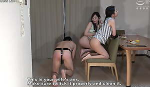 Japanese husband licks a lesbian woman's arse and human chair