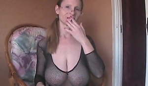 Saggy Boobed GILF Fishnet Crotchless Body Stocking