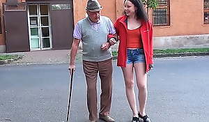 A happy day for granddad with a small dick