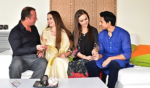 Man enjoys triptych anal sex on touching hawt Desi bhabhi and wife