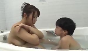 Asian busty mama with midget mini man bathroom hot fucking