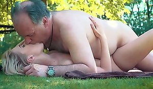 Vest-pocket-sized teen screwed overwrought grand-dad far than a tough going she blows plus gulps him