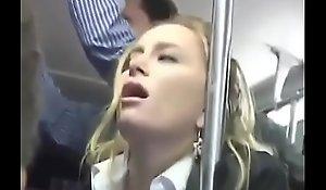 Hot Blonde Groped surpassing a Bus